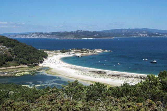 Playa de las Islas Cíes desde el mirador