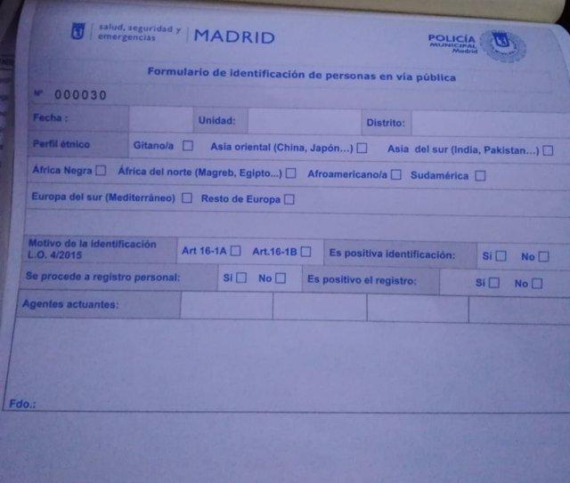 Nuevo formulario de Policía Municipal de Madrid