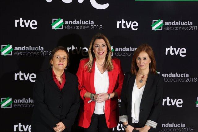 Susana Díaz a su llegada al segundo debate 'a cuatro'