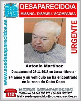 Imagen del desaparecido divulgada por SOSdesaparecidos