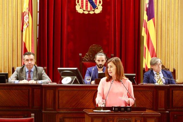 Francina Armengol durante el debate de la comunidad