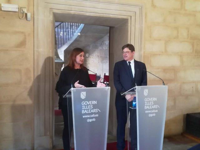 Los presidentes Francina Armengol y Ximo Puig en el Consolat de Mar