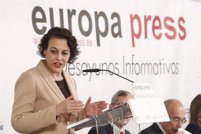 Magdalena Valerio protagoniza el Desayuno Informativo de Europa Press en Madrid