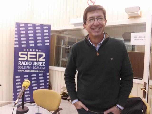 Juan Marín, en la emisora de la SER en Jerez