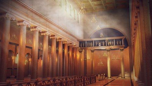 Recreación de la antigua basílica de Letrán