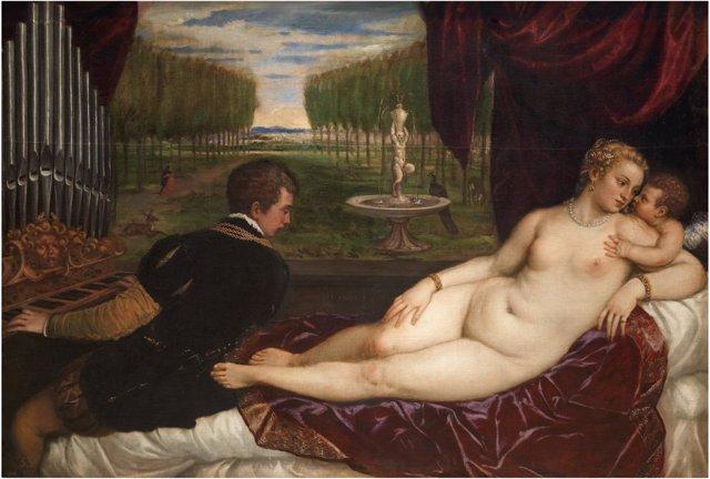 La obra de Tiziano 'Venus recreándose en el amor y la música'.