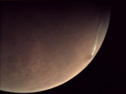 Imagen de la columna de humo de Arsia Mons tomada el 12 de noviembre