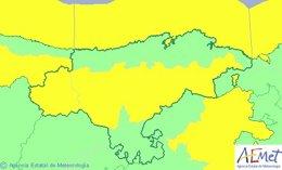 Mapa de avisos en Cantabria para este jueves