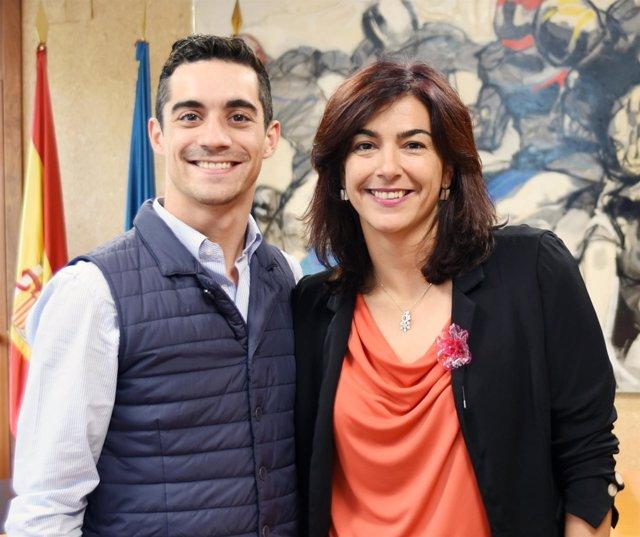 Javier Fernández junto a María José Rienda, presidenta del CSD