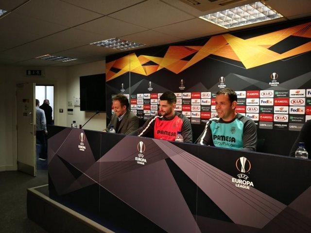 Álvaro y Calleja (Villarreal CF) en rueda de prensa
