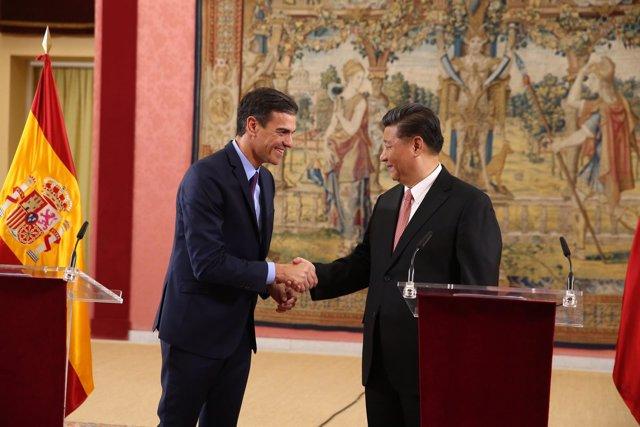 Pedro Sánchez y el presidente de China Xi Jinping presiden el encuentro del Co