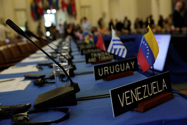 Delegates' seats are prepared for the Organization of American States' (OAS) mee