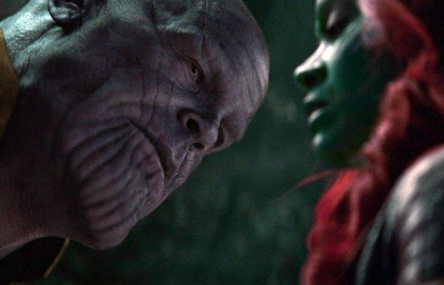 Thanos y Gamora en Vengadores: Infinity War