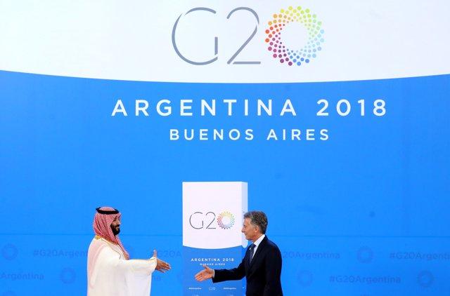 SMohamed Bin Salman y Mauricio Macri en la cumbre del G20