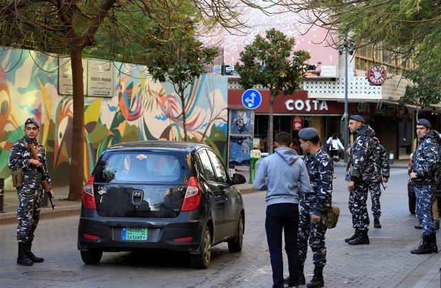Policías en Beirut, Líbano