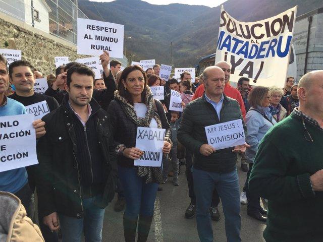 Luis Venta en la manifestación.