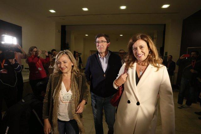 Juan Marín (Cs) a su llegada al hotel donde seguirá la noche electoral