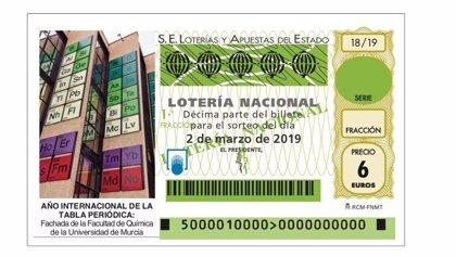 La tabla periódica de la Facultad de Química de la UMU protagoniza un décimo de la Lotería Nacional