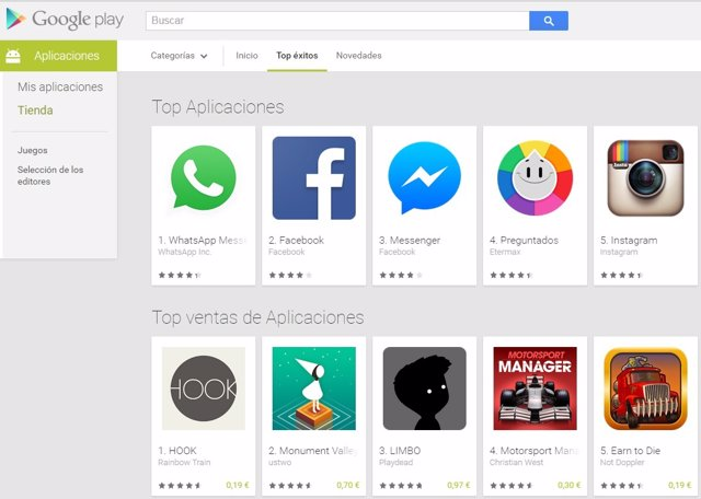 Google Play aplicaciones.