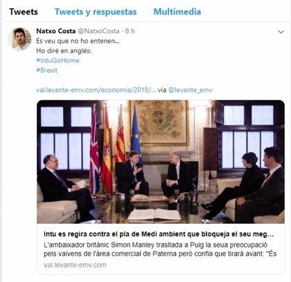 """El director general de Comercio al promotor del centro comercial en Paterna: """"Intu Go Home"""""""