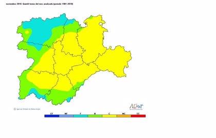 Noviembre cálido y húmero con 19 días de precipitaciones más de lo normal
