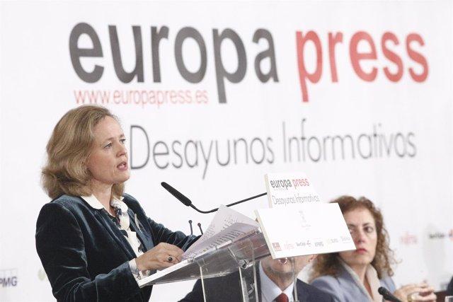Nadia Calviño participa en los Desayunos Informativos de Europa Press