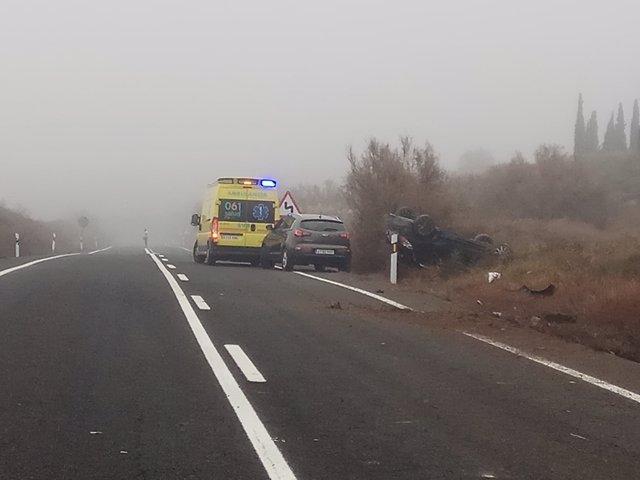 Accidente en la N-232, en Quinto de Ebro