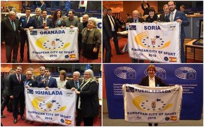 Fuenlabrada, Granada, Igualada y Soria reciben en Bruselas la bandera como 'Ciudad Europea del Deporte 2019'