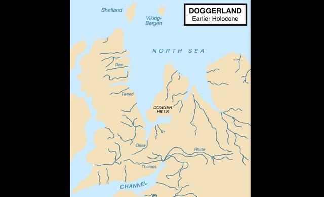 Zona del Mar del Norte ocupada por Doggerland