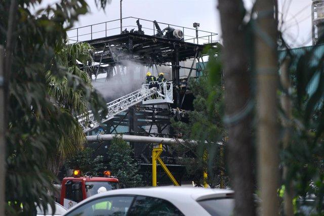 Incendio en la fábrica Ence en Pontevedra