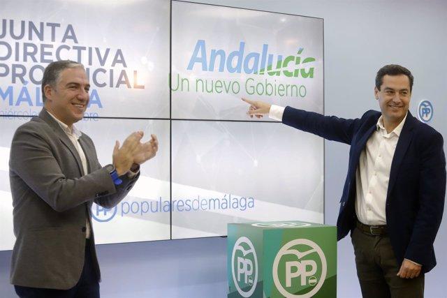 Juanma Moreno PP-A con elías bendodo pP málaga tras elecciones