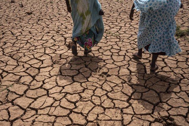 Mujeres caminan en una zona seca en Mauritania