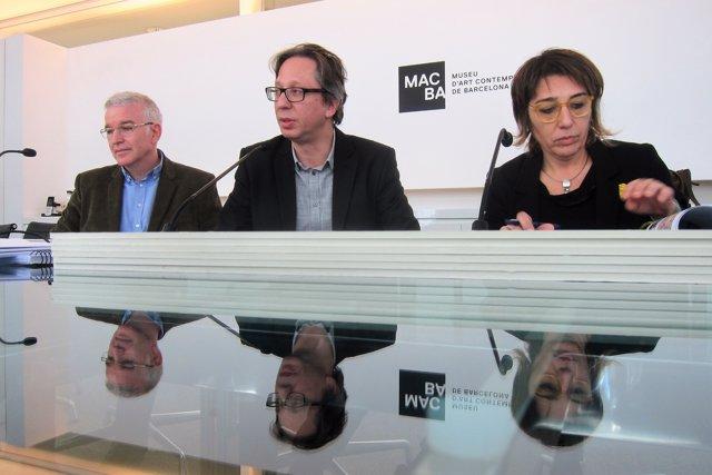 J.M.Carreté (Macba), F.Barenblit (Macba) i I.Ibar (Patrimoni Gencat)