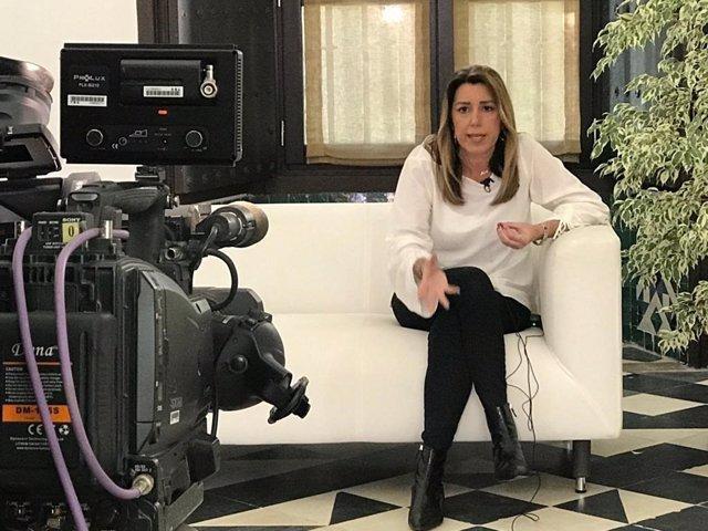 Susana Díaz, durante una entrevista televisiva