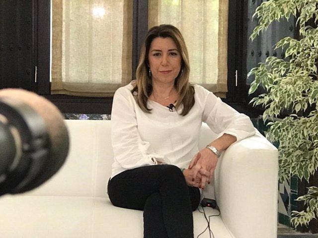 Susana Díaz, en una entrevista de televisión