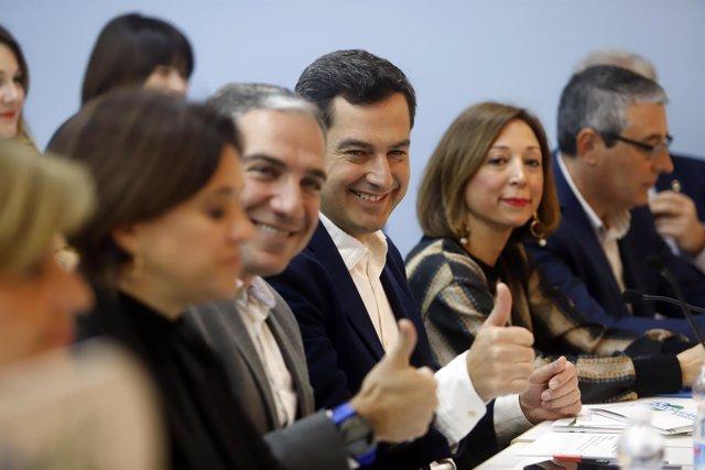 Juanma Moreno presidente del PP-A y Elías Bendodo Navarro junta directiva PP