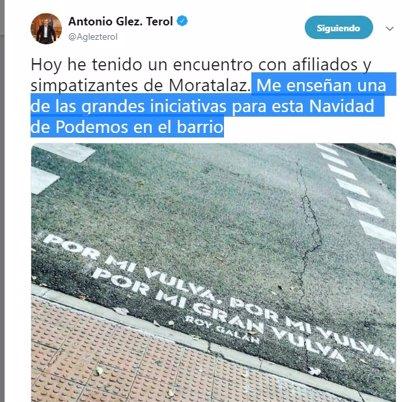 """Terol ironiza con el verso de """"por mi vulva"""" en un paso de peatones como una """"gran iniciativa"""" de Podemos para Navidad"""