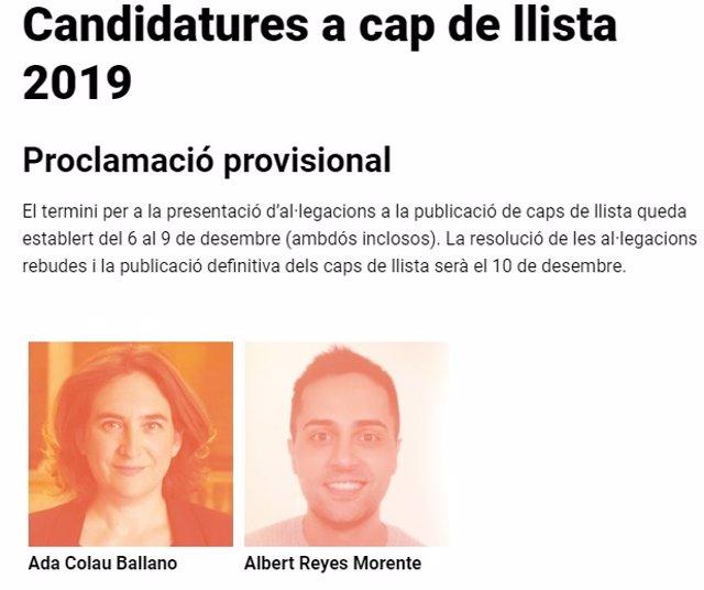 Candidaturas a liderar la lista de BComú en 2019