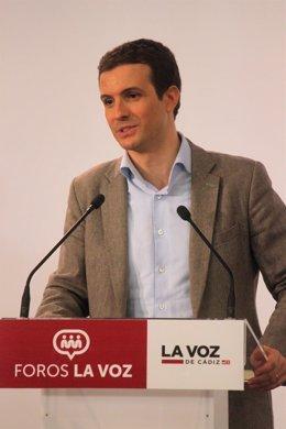 Pablo Casado en un acto en Cádiz
