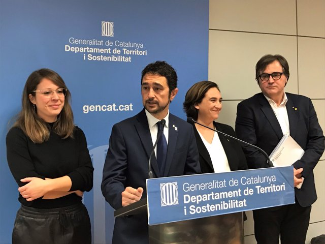 Janet Sanz, Damià Calvet, Ada Colau i Agustí Serra