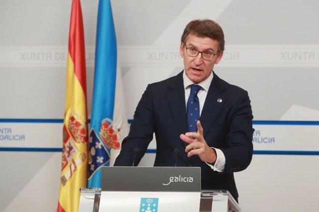 Feijóo, tras la rueda de prensa del Consello de la Xunta