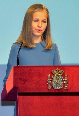 Primera intervenció pública de la princesa Elionor