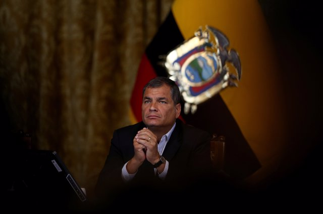 Ecuador's President Rafael Correa gives a a news conference in Quito, Ecuador, F