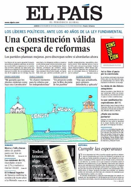 Las portadas de los periódicos del jueves 6 de diciembre del 2018