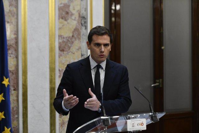 Rueda de prensa de Albert Rivera en el Congreso de los Diputados