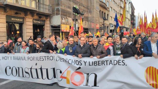 Manifestació pels 40 anys de la Constitució
