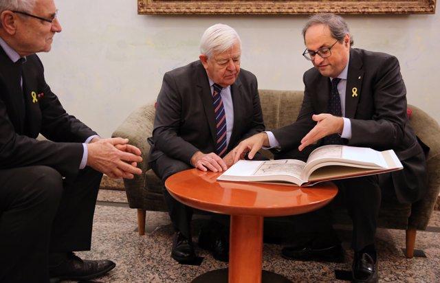 El president de la Generalitat, Quim Torra, i l'expresident d'Eslovènia