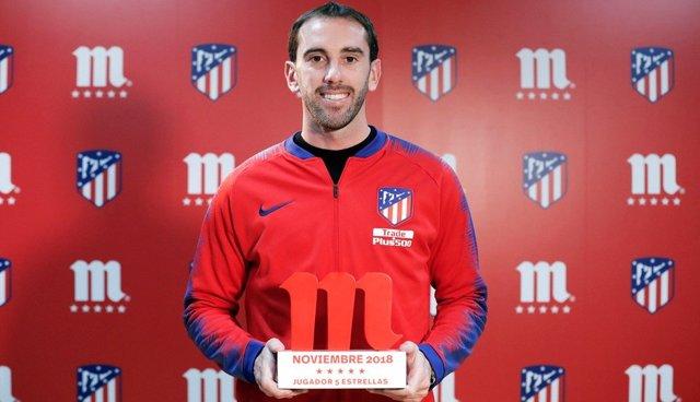 Diego Godín ha sido el 'Jugador Cinco Estrellas' de noviembre en el Atlético