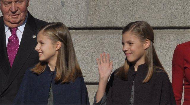 Leonor y Sofía en el 40 aniversario de Constitución