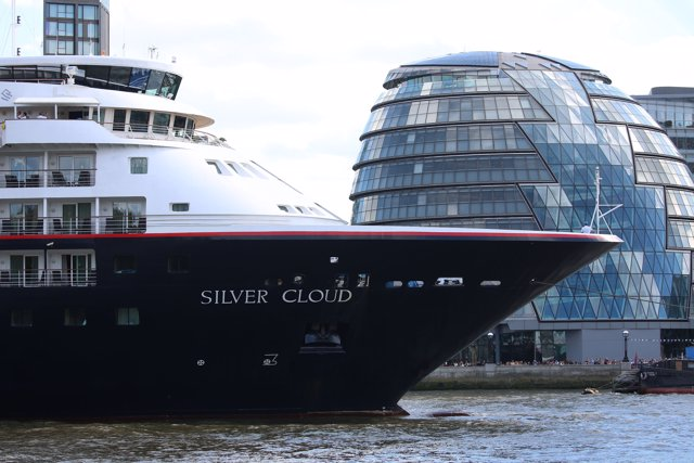 Silver Cloud, a luxury cruise ship operated by Silversea Cruises, leaves Tower B